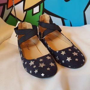 Girls Silver Stars Blue Ballet Flats Size 11